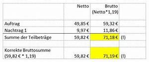 Mehrwertsteuer Berechnen Aus Bruttobetrag : woher kommen rundungsdifferenzen bei auftr gen mit nachtr gen ava blog von g w software ~ Themetempest.com Abrechnung