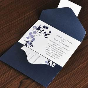 country rustic style floral and navy blue pocket With pocket type wedding invitations