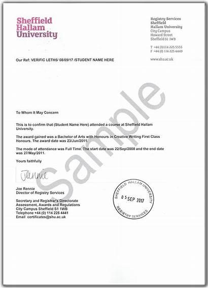 Letter Award Verification Services University