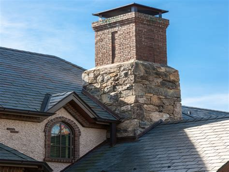 Architecture Dry Stack Stone Chimney For Contemporary