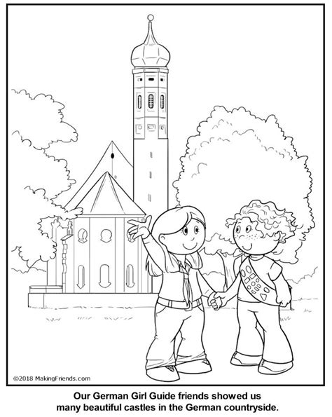 german girl guide coloring page germany thinking day