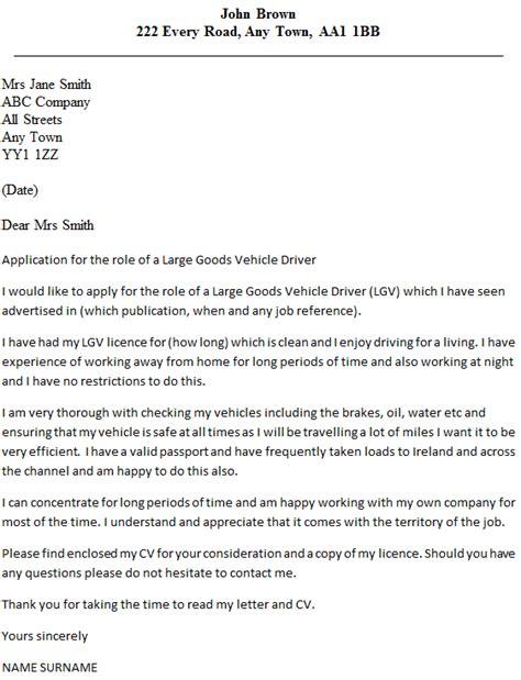 lgv driver cover letter exle icover org uk