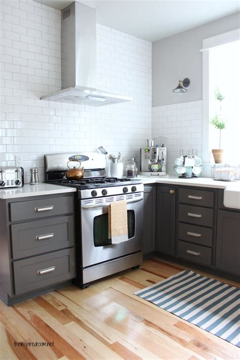 charcoal painted kitchen cabinets kitchen cabinet colors before after the inspired room 5234