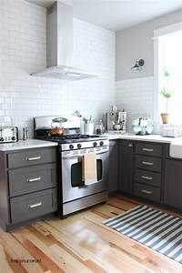 kitchen cabinet colors before after the inspired room With kitchen colors with white cabinets with painted wood wall art