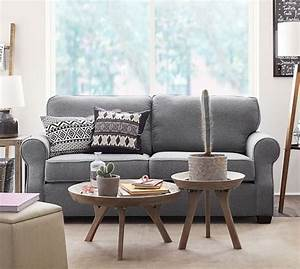 Soma fremont roll arm upholstered sofa pottery barn for Small sectional sofa pottery barn