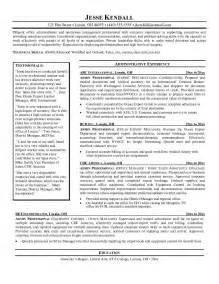 exle of professional resume exle admin professional resume free sle