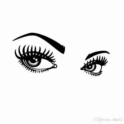 Outline Eye Stickers Wall Decorative Eyelashes Salon