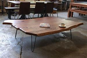slab coffee table with hairpin legs table pinterest With wood slab coffee table legs