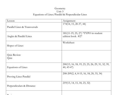 worksheet unit  parallel perpendicular lines  worksheet