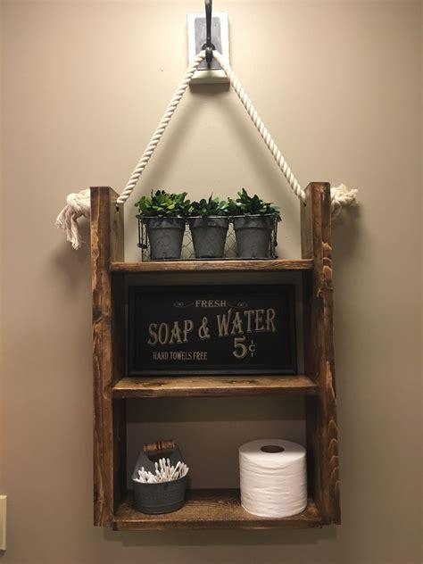 custom  farmhouse rustic bathroom shelf hanging