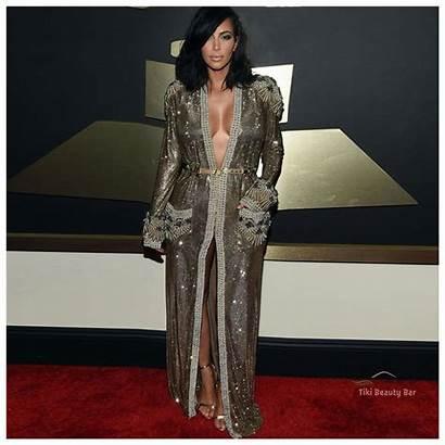 Carpet Coat Grammy Sleeve Awards Kardashian Kim