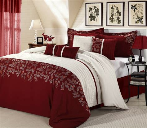 8pc luxury bedding set montana burgundy white king