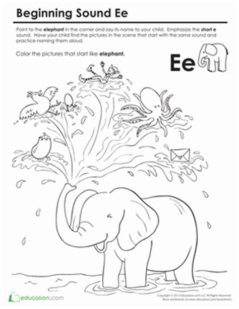 beginning sounds coloring sounds like elephant