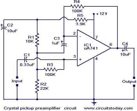 Crystal Pickup Pre Amplifier Circuit Electronic Circuits
