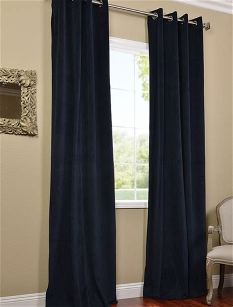 signature midnight blue grommet blackout velvet curtains