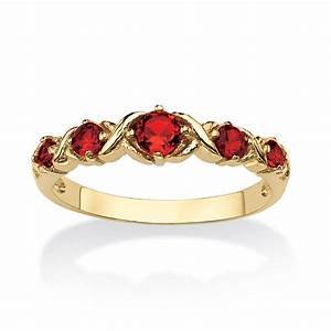 "Birthstone 14k Gold Plated ""x O"" Ring July Simulated Ruby ..."