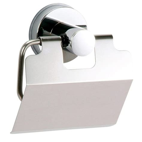 "Buy Super Suction ""Axis"" Chrome / Black Toilet Roll Holder Back2BATH"