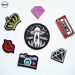 1 pcs alien ufo parches embroidered iron on patches for With letter decals for clothing