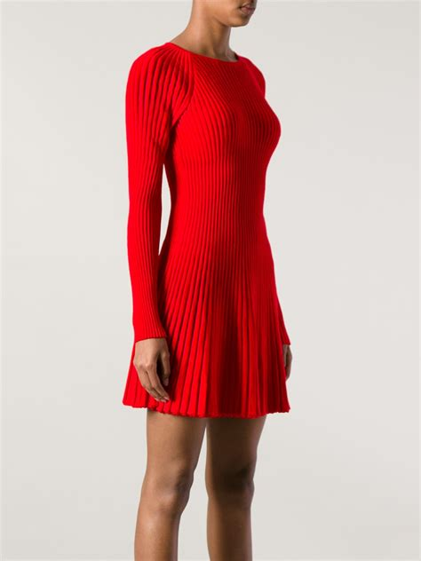 Lyst - Alexander mcqueen Ribbed Knit Dress in Red