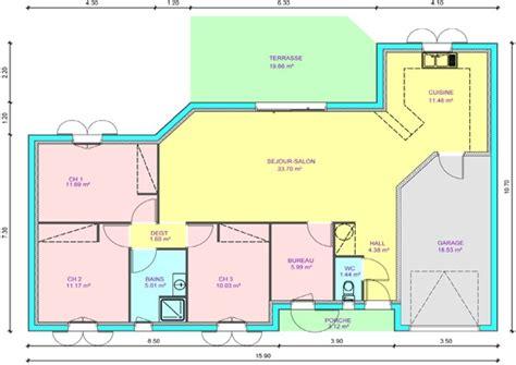 pied de bureau plan maison 3 chambres 1 bureau 4 de plain pied