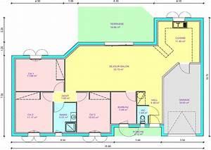 plan de maison 3 chambres plain pied avie home With plan maison plain pied 3 chambres 1 bureau