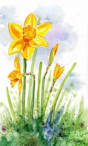 Proud Daffodil Painting by Annie Troe