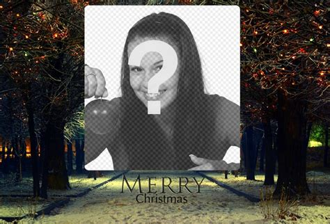 add your photo to this christmas landscape with the phrase merry christmas