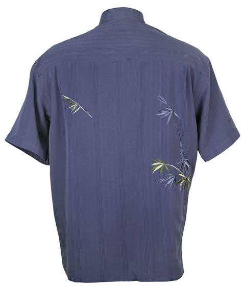 bamboo cay flying bamboo tropical embroidered shirt in blue mens hawaiian shirts clothing