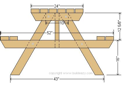 Picnic Bench Dimensions by Buildeazy Projects 4 Seater Picnic Table Standard Version