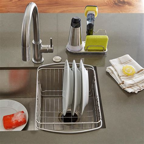 euro home over the sink organizer steel oxo stainless steel sink organizer the container store