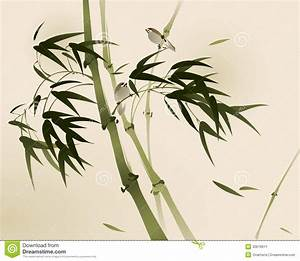 Oriental Style Painting, Bamboo Branches Stock Vector ...