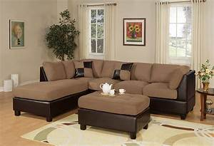 Microfiber sectional sofa with ottoman 2 piece modern for Doris 3 piece sectional sofa