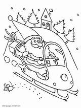 Coloring Pages Santa Snowmobile Printable Sheet Claus Sheets Arctic Cat Template Mini Holiday sketch template