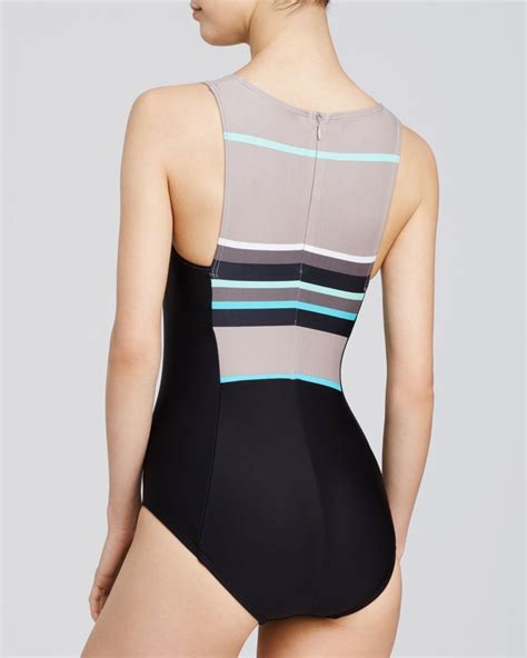 high neck one swimsuit dkny cruise high neck one swimsuit in beige sand