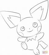 Coloring Pichu Pages Printable Drawing sketch template