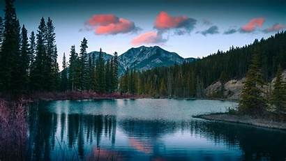 Forest Mountains Lake Nature Landscape Background Widescreen