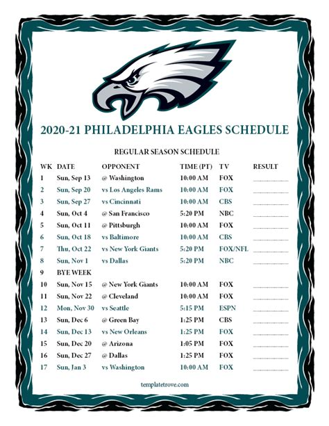 printable   philadelphia eagles schedule