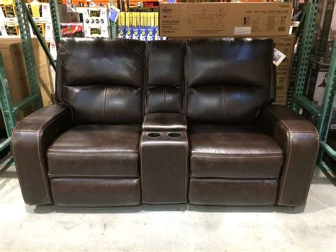 leather power recliner love seat  usb  drink