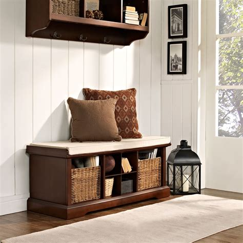 Brennan Mahogany Entryway Storage Bench Crosley Furniture