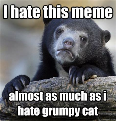 I Hate Memes - i hate this meme almost as much as i hate grumpy cat confession bear quickmeme