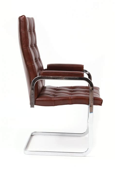 8 cantilevered chrome leather dining chairs modern