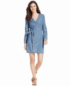 Calvin klein jeans Denim Wrap Dress in Blue | Lyst