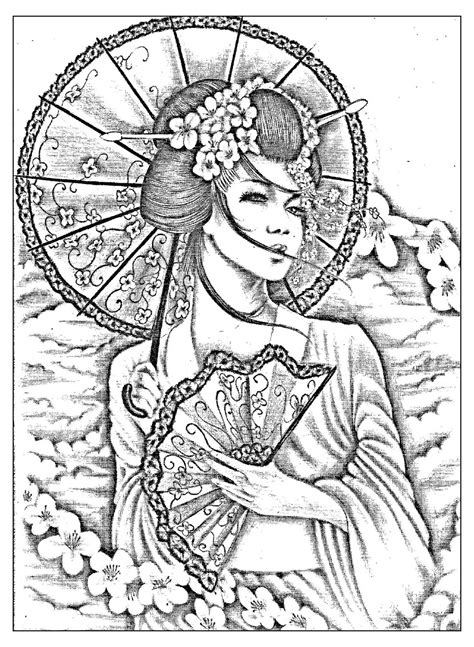 lovely  refined geisha japan adult coloring pages