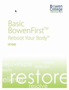 Basic Bowenfirst U2122 Reboot Your Body Manual