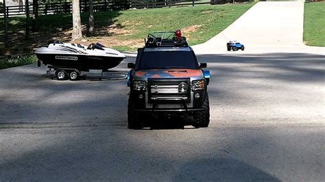 Rc Boat Trailer And Hitch by Rc 4x4 With Scale Trailer And Scale Boat Trailer Tamiya
