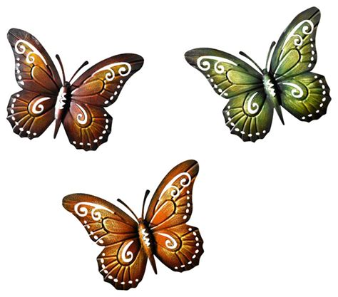 colored metal butterfly wall decor set of three