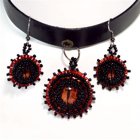 black  red choker dragon eye jewelry twisted pixies