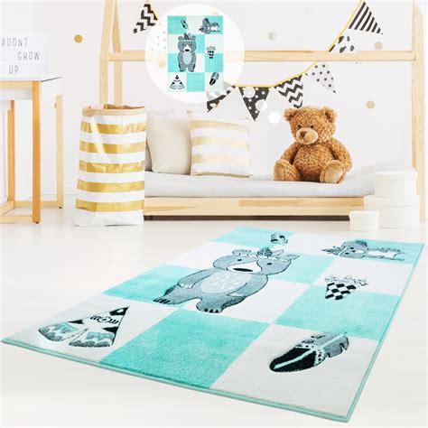Tipi Kinderzimmer Türkis by Kinderteppich Teppich Hochwertig Kinderzimmer Glanzgarn
