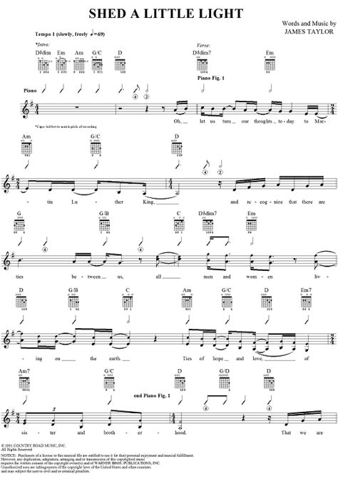 shed a little light sheet music music for piano and more