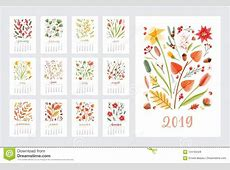Calendar For 2019 Year Set Of Page Templates With Months